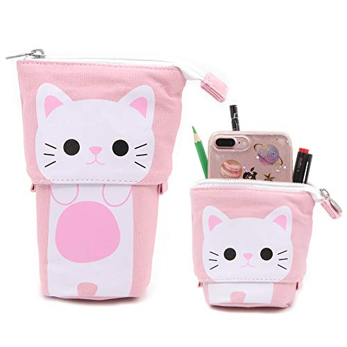 Cute Telescopic Stand Up Pencil Holder,Cartoon Canvas Telescopic Pencil Pouch Bag Stationery Box With Zipper (Pink Cat)