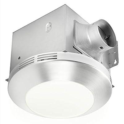 HOMEWERKS WORLDWIDE 7117-01-BN Bathroom Integrated LED Light Ceiling Mount Exhaust Ventilation 1.1 Sones 80 CFM, Bath Fan Brushed Nickel by Homewerks Worldwide