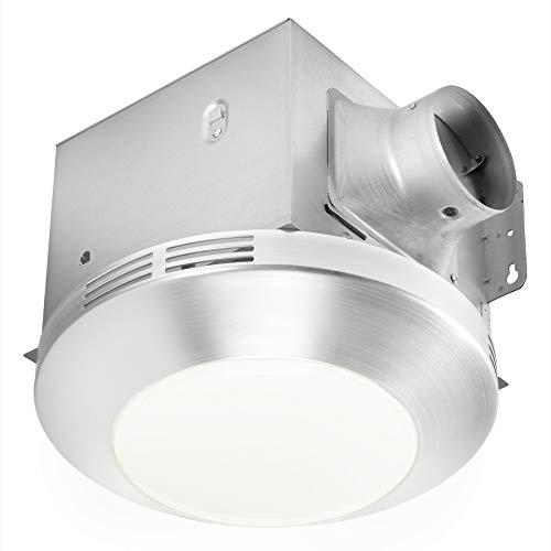 bathroom fan light combos Homewerks 7117-01-BN Bathroom Integrated LED Light Ceiling Mount Exhaust Ventilation 1.1 Sones 80 CFM, Bath Fan Brushed Nickel