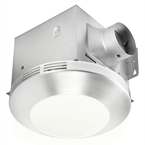 Homewerks Worldwide 7117-01-BN Bathroom Integrated LED Light Ceiling Mount Exhaust Ventilation 1.1 Sones 80 CFM, Bath Fan Brushed Nickel