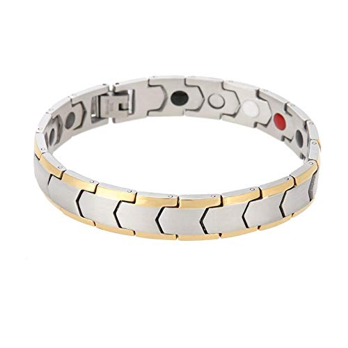 Magnetic Weight Loss Bracelet, Healthy Slimming Magnetic Therapy Bracelets Bangle Jewelry Reduce Fatigue Relief Pain(Silver)