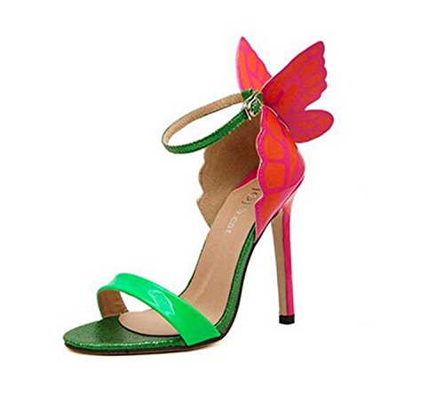 Zeagoo Damen Sommerschuhe Elegante Pumps high Heels Sandalen mit Riemchen blau rosa rot schwarz