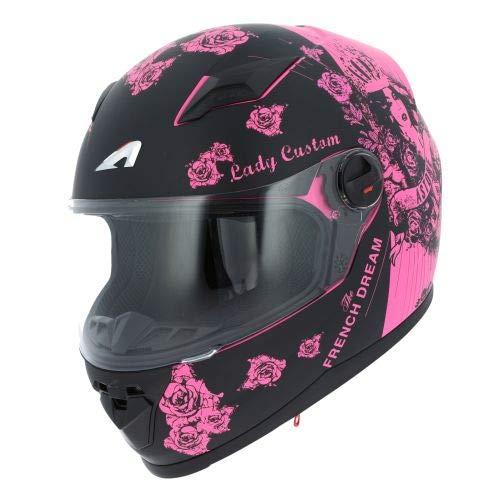 Astone Helmets - Casque intégral GT2 Graphic Lady Custom - Casque de moto femme - Casque idéal en milieu urbain - Casque de moto intégral en polycarbonate - Black/Pink M