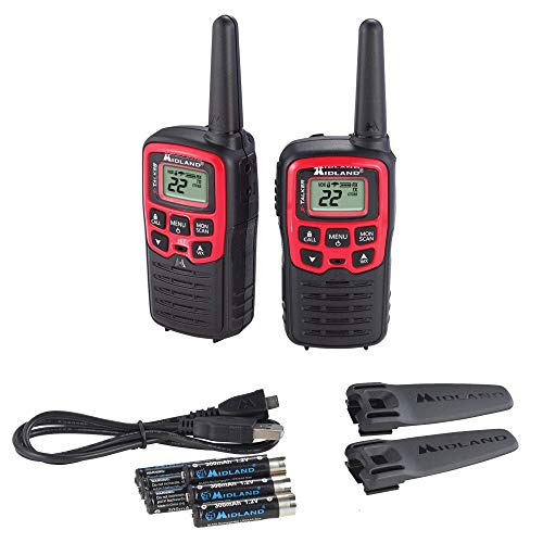 Midland - X-TALKER T31VP, 22 Channel FRS Walkie Talkies - Extended Range Two Way Radios, 38 Privacy Codes, & NOAA Weather Alert (Pair Pack) (Black/Red)
