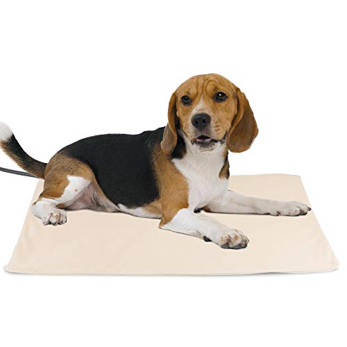 NICREW Pet Heating Pad for Dogs and Cats, Heated Pet Mat with Steel-Wrapped Cord and Soft Fleece Cover, 27.5 x 17.5 Inch, 50 Watts