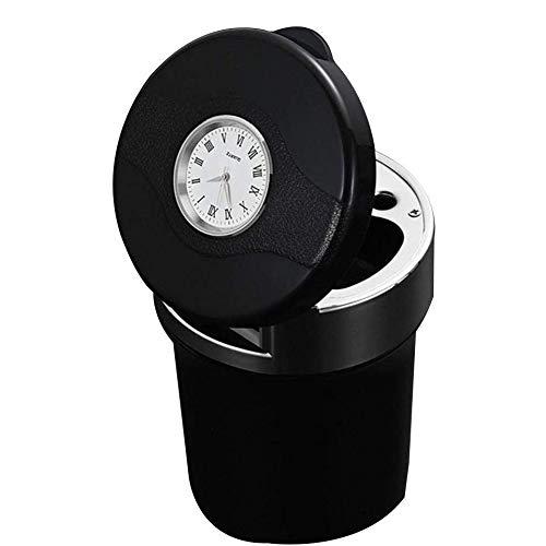 QINYUN Aschenbecher Multifunktionsuhr Metall LED Auto Aschenbecher