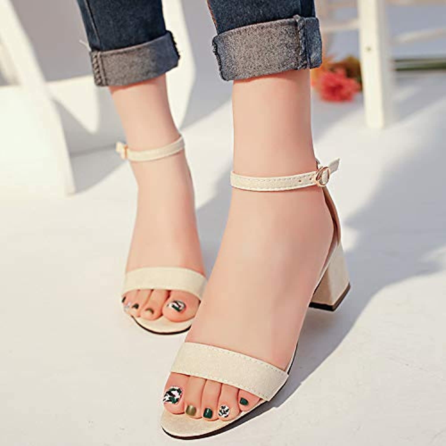 JKFESX New Mid-Heel shoes Summer 2019 New Mid-Heel shoes Women's shoes Suede Sexy One-Word Fashion