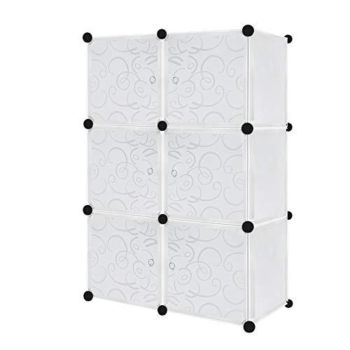 Armario de plástico con 6 cubos con puertas, color blanco