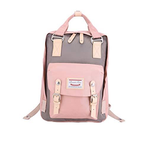 BestiTas Moderner, einfacher und Unisex Outdoor Rucksack Mode Schulrucksack für Backpack (Rosa und Grau)