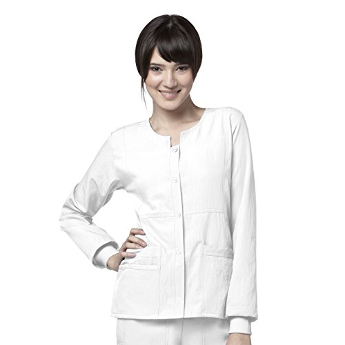 WonderWink Women's Scrubs Four Way Stretch Sporty Snap Jacket, White, X-Small