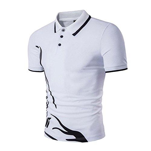 Yvelands Solapa de Negocios Hombres Sola Camiseta de Manga Corta de los Deportes Casuales Camisetas Tops, Liquidación Barato! (Blanco, M)
