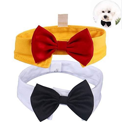 YUESEN Pajarita de Mascotas Ajustables Collar Perro o Gato Nudo Mariposa Pet Traje De Corbata Estética Accesorios para Perro Gatito Accesorios de Fiesta 2pcs