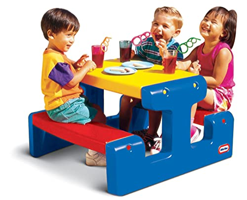 Little Tikes Picknicktisch (Primärfarben) - Platz für bis zu 4 Personen - Für Hausaufgaben, Projekte und Spiele - Grundfarben