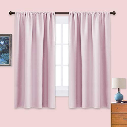 NICETOWN Blackout Curtains for Girls Room - Nursery Essential Thermal Insulated Solid Rod Pocket Top Blackout Drapes (Lavender Pink=Baby Pink,1 Pair,42 x 63 Inch)