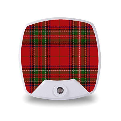 Lámpara LED de noche con sensor inteligente de atardecer a amanecer, Navidad, Año Nuevo, decorativo, tartán, belleza, lámpara blanca cálida, para escaleras, pasillo, cocina, dormitorio, etc