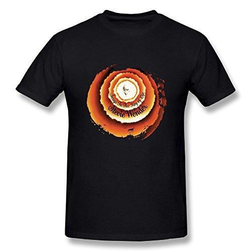 JohnHA Men's Stevie Wonder Songs in The Key of Life Cotton T-Shirts Black L