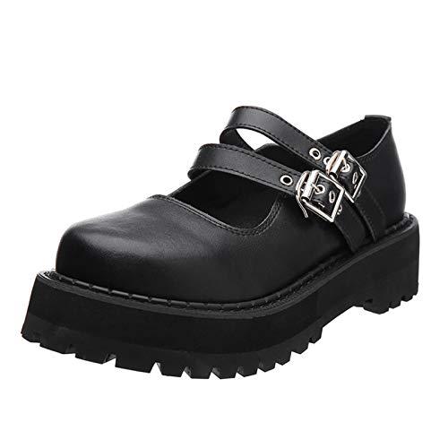 cynllio Plateau-Pumps für Frauen Knöchelriemen Mary Jane Schuh Vintage Wedges Lolita Schuhe Cosplay Uniform Schuhe, Schwarz - 2 Schwarz - Größe: 35.5 EU