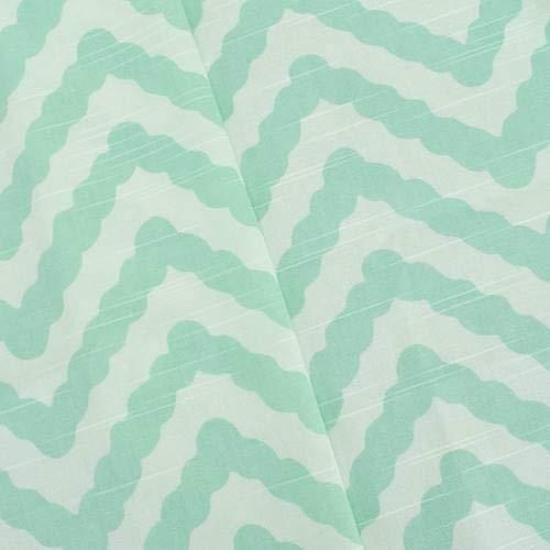 Mint/White Annie Selke Chevron Wave Print Canvas Deco Fabric, Fabric by The Yard