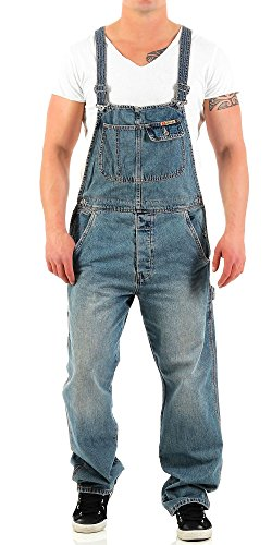 Jet Lag Herren Latz Jeans Overall Lange Hose Loose Fit Denim Long XL