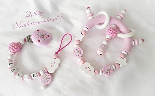 Baby Greifling/Rassel mit Namen - Mädchen - Wunschnamen (Spar Set: Einhorn, Set: Einhorn, Rosa, Weiß)