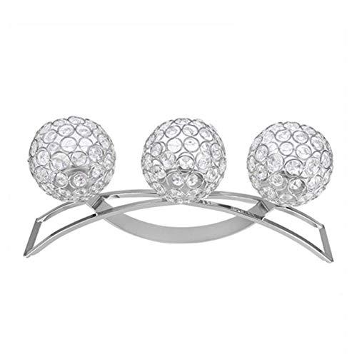 Candelabro Crystal Ball Candelabro romántico para café para mesa de comedor(Silver)