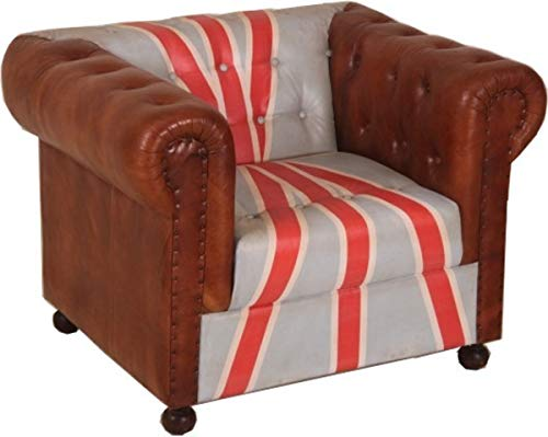 Casa Padrino Chesterfield Luxus Echt Leder Sessel Union Jack/Braun 1 Sitzer Vintage Leder Englische Flagge England Möbel