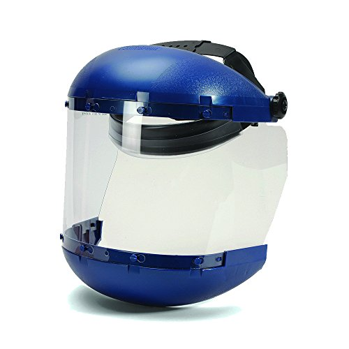 Sellstrom S38140 Blue Plastic Crown/Chin Guard and Clear Anti-Fog Window Protective Face Shield with Ratchet Headgear, Made in USA