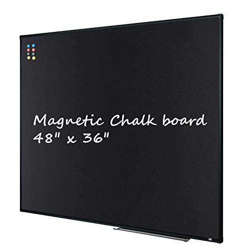 Large 48' x 36' Magnetic Chalk Board| Wall Mounted Chalk Black Bulletin Board with Pen Tray, Black Aluminum Message Presentation Memo Board for Office & School