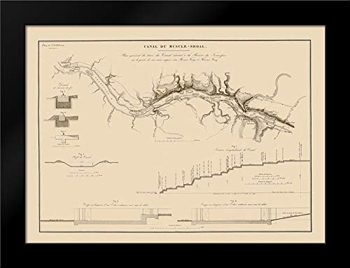 Muscle Shoals Canal, Alabama - Poussin 1834 24x18 Black Modern Framed Art Print by Poussin Vintage Map