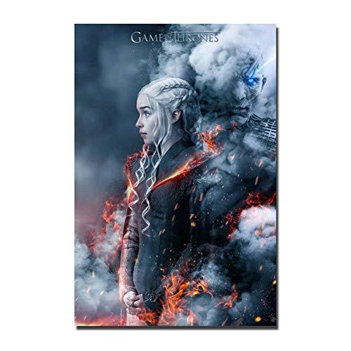XZRDP Juego de Tronos Emilia Clarke Arte Carteles e Impresiones Lienzo Pintura Sala de Estar Decoración del hogar -24x36 IN Sin Marco