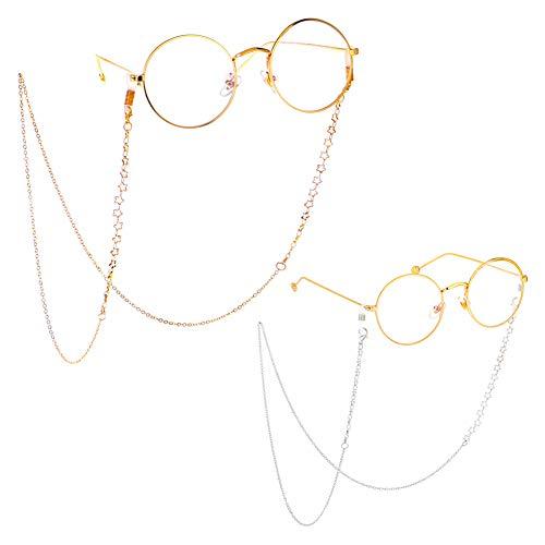 ZANPOON Cadena para Gafas de Sol con cordón para el Cuello, Correa de sujeción para Gafas de Sol, Soportes para Gafas, Dorado y Plateado (Star)