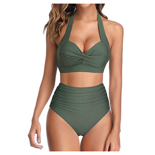 Women's Halter Bikini Set Lady Summer High Waist Strap Split Swimsuit Solid Color Swimwear V-Neck Two Piece Bikini Set Athletic Swimsuit Pro Swimwear Army Green