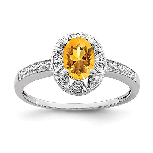 925 Sterling Silver Diamond Yellow Citrine Band Ring Size 6.00 Birthstone November Gemstone Fine Jewellery For Women Gifts For Her