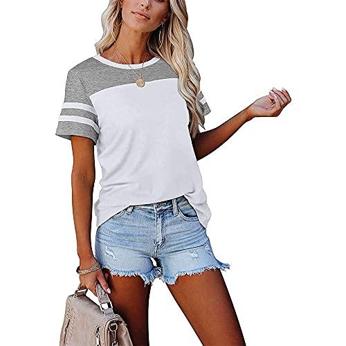 Camisa Mujer Top Mujer Elegante Cómodo Dulce Verano Mujer Camiseta Patchwork Moda Slim Fit Fibra Elástica Vacaciones Camiseta De Manga Corta B-White1 XXL