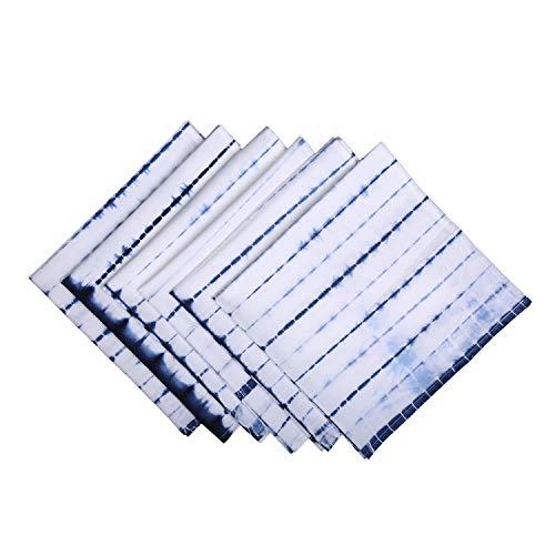 RAJRANG BRINGING RAJASTHAN TO YOU Kitchen Cloth Napkins Set of 6-20 x 20 Inches Cotton Blue Shibori Reusable Dinner Napkin for Dining Table