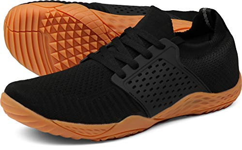 WHITIN Men's Trail Running Shoes Minimalist Barefoot 5 Five Fingers Wide Width Size 11 Low Zero Drop Male Parkour Road Sport Toe Box Gym Workout Fitness Breathable Beach Black Gum 45
