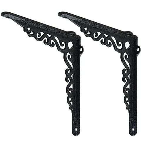 Sungmor Soportes de estante de hierro fundido resistente en ángulo de 90 grados, para colgar en la pared, 2 unidades y 18 cm, elegante y decorativa abrazadera de esquina para andamio