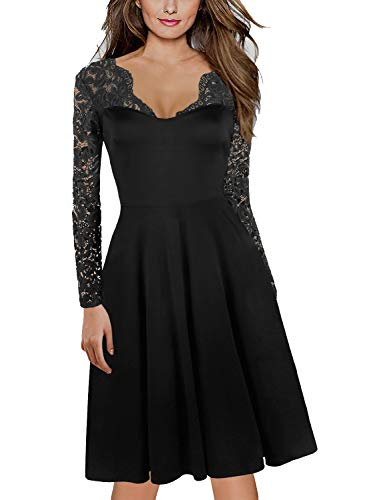 Women's 1950's Vintage V-Neck Floral Lace Long Sleeve Casual Party Dress for Work 189 Black XL