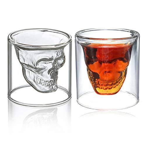 Ducomi Bicchiere Teschio Vetro - Set di 2 Bicchieri per Liquori, Whisky, Vodka, Rum a forma di Teschio - Resistenti e in Cristallo - Idea Regalo Halloween - Capacità 150 ml
