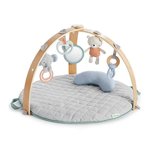 Ingenuity 12126 - Gimnasio de actividades cozy spot, alfombra reversible, arco de juego de madera con juguetes, 0+ meses, unisex