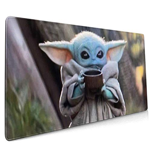 Baby Y-oda Mouse Pad with Stitched Edge Non-Slip Rubber Base Mousepad for Laptop One Size