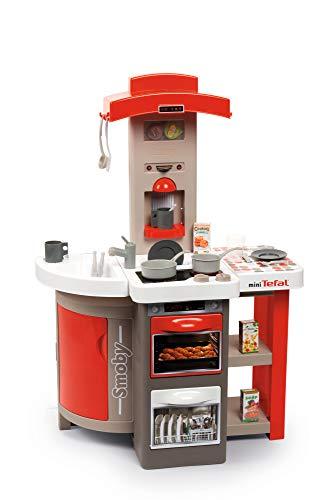 Smoby Tefal Opencook Electric Spielküche ,klappbar und platzsparend, mit Sound, für Kinder ab 3 Jahren, mit viel Zubehör, rot, grau, weiß