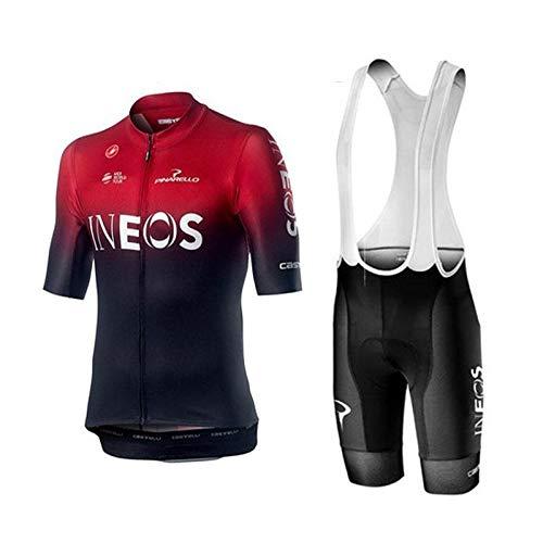 WOLFIRE WF Traje de Ciclismo para Hombre de Equipos. Culotte y Maillot. con 5D Gel Pad. para MTB, Spinning, Bicicleta de Carretera (Ineos, 2XL)
