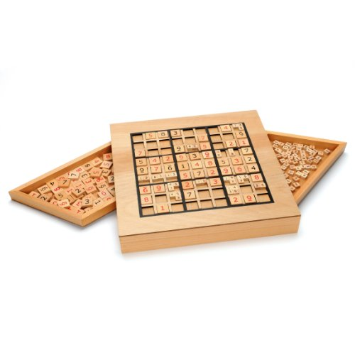 WE Games Wooden Sudoku Puzzle Board Game with Number & Thinking Tiles - 11 in