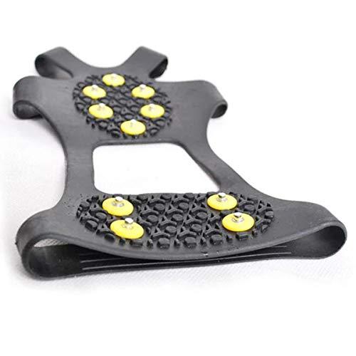 OhhGo puños de Hielo Antideslizantes 10 espárragos de Acero agarres de Nieve sobre Zapatos espigas elásticas crampones Calzado para Hombres Mujeres Caminar Trotar Senderismo (XL)