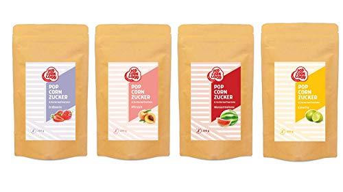 Popcornzucker 4er Set aus Wassermelone | Erdbeere | Pfirsich | Limette jeweils 200g Zucker Aroma perfekt geeignet für Zuckerwatte und Popcorn zum zubereiten Zuhause Süßes Premium Zuckeraroma
