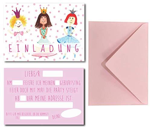 Lasse und Lucie Einladungskarten Set für Kindergeburtstag Prinzessin / Prinzessinnen-Party / 8 Karten Plus 8 farbige Umschläge / Format DIN A6