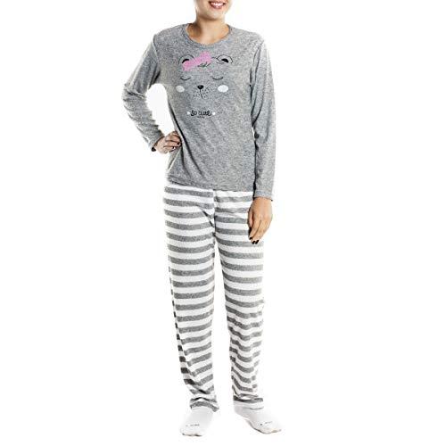 Pijama feminino estampado de inverno plush Victory 19123