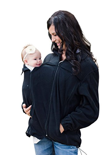 Suse's Kinder Babywearing Fleece Jacket for Use Over Baby Carriers (Large) Black