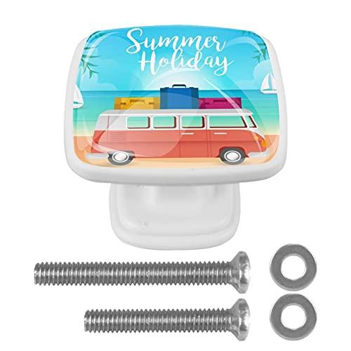 Paquete de 4 herrajes Blancos para gabinetes Playa del coche Perilla cuadrada con tornillos de montaje, tiradores de un solo orificio 3x2.1x2 cm